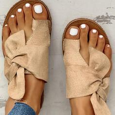 Mulheres Camurça Sem salto Sandálias Sem salto Peep toe Chinelos com Bowknot sapatos