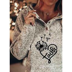 Print Figure Dandelion Heart Pockets Long Sleeves Hoodie