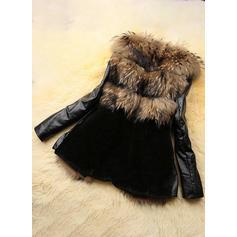Bőr Hosszú ujjú Széles-csípőjű kabátok