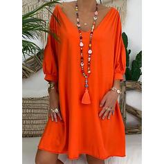 Solid 3/4 Sleeves/Lantern Sleeve Shift Knee Length Casual Dresses