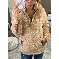 Leopard Pockets Lapel Long Sleeves Sweatshirt