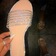 Női PU Lapos sarok Szandál Peep Toe Papucs -Val Hegyikristály cipő