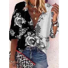 Распечатать Цветочный V шеи Рукава 3/4 Кнопка вверх Повседневная Рубашка Блузки