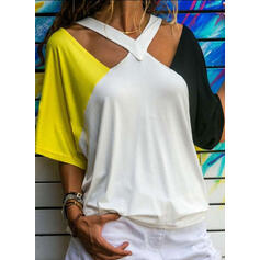 Color Block V-Neck 1/2 Sleeves Casual Knit Blouses
