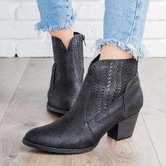 Kvinner PU Stor Hæl Pumps Støvler Ankelstøvler med Hul ut sko