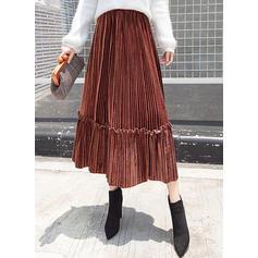 Sammet Solid färg Midi pläterade kjolar