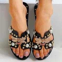 Women's PU Flat Heel Sandals Flip-Flops Slippers With Rhinestone Rivet shoes