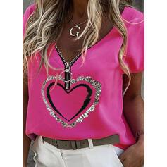 Распечатать Сердце V шеи С коротким рукавом Повседневная Блузы