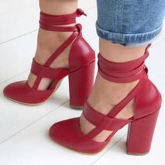 Kvinnor PU Stilettklack Sandaler Pumps med Bandage skor