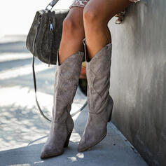 Women's Suede Cone Heel Mid-Calf Boots Winter Boots With Zipper Solid Color shoes