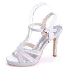 Pentru Femei Satin Toc Stiletto Puţin decupat în faţă Platformă Sandale cu Cataramă
