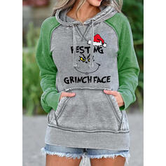 Print Color Block Figure Pockets Long Sleeves Christmas Sweatshirt