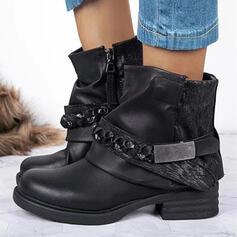 Bayanlar PU Tıknaz Topuk platform Ayak bileği çizmeler Martin Çizmeleri Yuvarlak ayak Ile Payet Dantelli Zincir Velcro Katı Renk ayakkabı