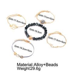 Con estilo Aleación Cuerda trenzada Perlas De mujer Pulseras de Moda (Juego de 5)