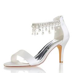 Kvinder silke lignende satin Stiletto Hæl Kigge Tå Pumps sandaler med Tassel