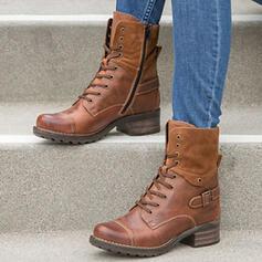Női Műbőr Alacsony sarok Bokacsizma Kerek lábujj -Val Lace-up cipő