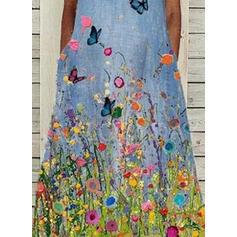 Print/Floral/Animal Sleeveless Shift Casual Midi Dresses