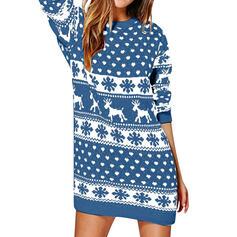 Animal Print Round Neck Casual Long Christmas Sweater Dress