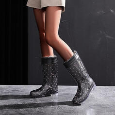 PVC Wedge Heel Mid-Calf Boots Snow Boots Rain Boots Round Toe Slip On With Polka Dot shoes