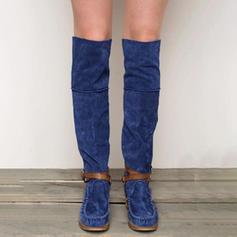 De mujer Ante Tacón plano Botas a la rodilla con Hebilla zapatos