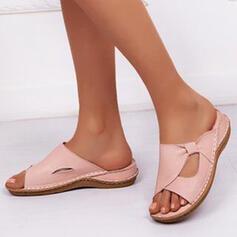 Mulheres Couro Plataforma Sandálias Sem salto Chinelos com Fivela Oca-out sapatos