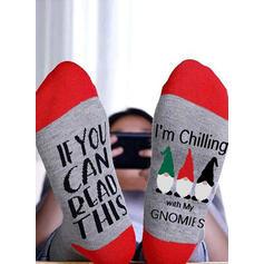 Letter/Print Breathable/Christmas/Crew Socks/Unisex Socks