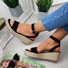 Mulheres PU Plataforma Sandálias Calços Peep toe Saltos com Fivela Animal da Cópia sapatos