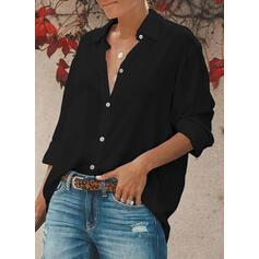 Jednolity Klapa Długie rękawy Zapięcie na guzik Casual Bluski koszulowe