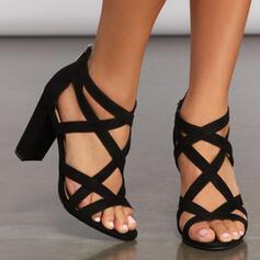 De mujer Cuero Tacón ancho Sandalias Salón Encaje con Cremallera Agujereado Color sólido zapatos
