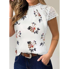 Print Floral Patchwork Lace Round Neck Short Sleeves Casual Blouses