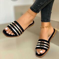 Frauen PVC Flascher Absatz Sandalen Peep Toe Pantoffel mit Spleißfarbe Schuhe