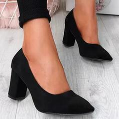Bayanlar PU Tıknaz Topuk Pompalar Sivri parmak Ile Katı Renk ayakkabı