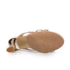 Mulheres Couro Salto robusto Sandálias com Cristal Oca-out sapatos
