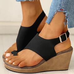De mujer PU Tipo de tacón Sandalias Cuñas Encaje con Hebilla zapatos