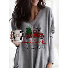 Print Figure Pockets Round Neck Long Sleeves Christmas Sweatshirt