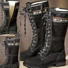 Women's PU Chunky Heel Mid-Calf Boots Riding Boots Round Toe With Zipper Solid Color shoes