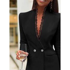 Encaje/Sólido Manga Larga Ajustado Sobre la Rodilla Pequeños Negros/Elegante Vestidos