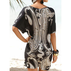 Floral Print Round Neck Bohemian Cover-ups Swimsuits