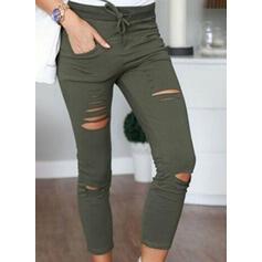 Jednolity Capris Nieformalny Chudy Jednolity Spodnie