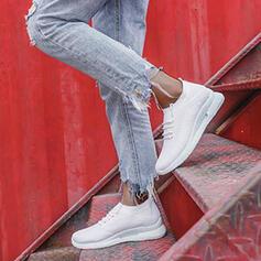 Dla kobiet Material Płaski Obcas Plaskie Niskie góry Round Toe Tenisówki Z Sznurowanie Naszywka obuwie