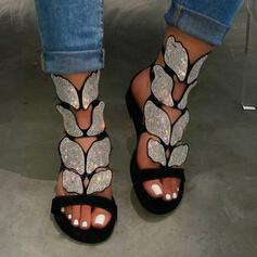 Pentru Femei Imitaţie de Piele Fară Toc Sandale Puţin decupat în faţă Borsete cu Ştrasuri pantofi