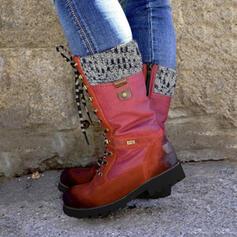 Bayanlar PU Düşük Topuk Orta Buzağı Çizmeleri Martin Çizmeleri Ile Fermuar Bağcıklı ayakkabı ayakkabı