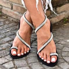 Mulheres PU Sem salto Sandálias Chinelos Anel de dedo do pé com Strass Oca-out sapatos
