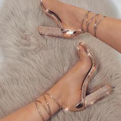 De mujer Cuero Tacón ancho Sandalias Salón con Cordones zapatos