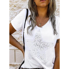 Sequins Round Neck Short Sleeves T-shirts