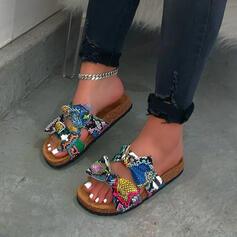 Женский PU Плоский каблук Peep Toe Домашние тапочки с Bowknot Рисунок животного обувь