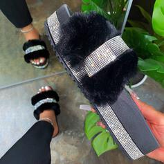 Pentru Femei Imitaţie de Piele Sclipici Sclipitor Fară Toc Sandale Platformă Puţin decupat în faţă Şlapi cu Ştrasuri Blană pantofi