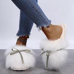 Mulheres Imitação de pele Sem salto Sandálias Chinelos com Bowknot Pele Cor sólida sapatos