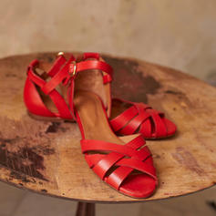 PU Flat Hæl Sandaler Flate sko med Spenne Flettet Stropp sko