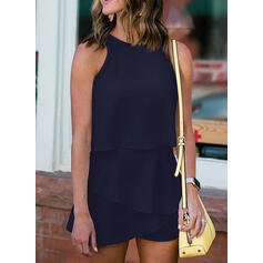 Solid Round Neck Sleeveless Casual Elegant